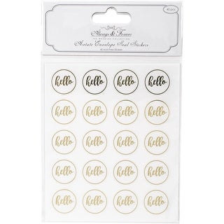 Hello 25Mm Acetate & Gold; 40/Pkg - Always & Forever Envelope Seal Stickers