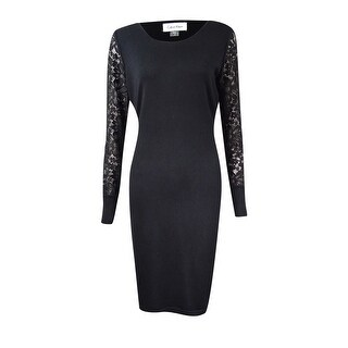 Calvin Klein Women's Petite Lace-Sleeve Sweater Dress - Black