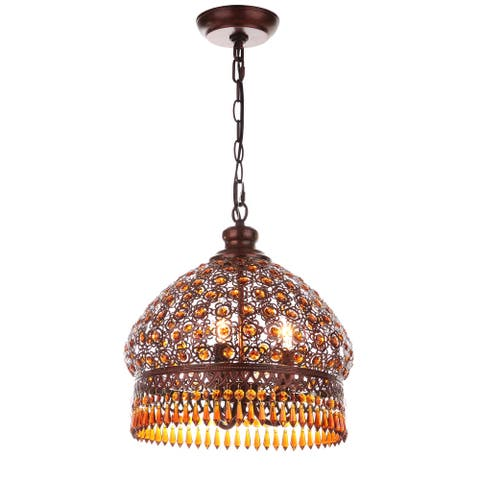 "Safavieh Lighting Jeweled 3-light Bronze Beaded Adjustable Pendant Lamp - 13.5""x13.5""x18.25-90.25"""