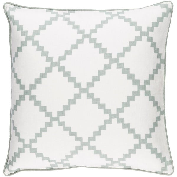 "18"" White and Gray Geometric Pattern Decorative Throw Pillow - Down Insert"