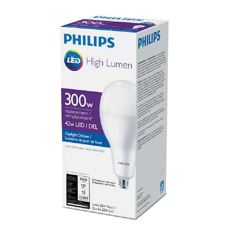 Philips 479303 A-Line A40 LED Bulb, Frosted, 42 Watts, 5000 lumens