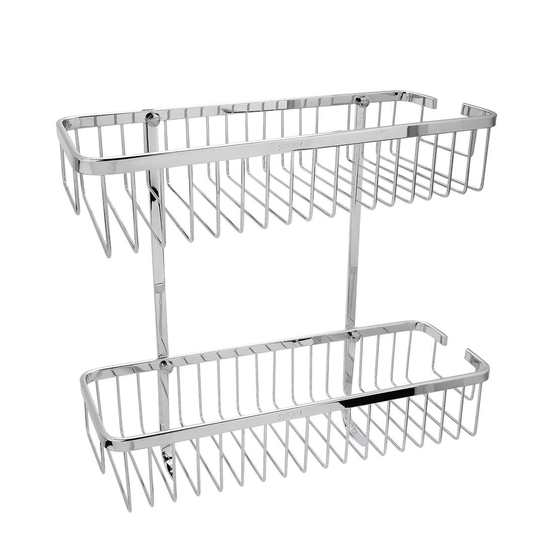 Bathroom Shower Basket Storage Stainless Steel 2-Tier Organizer ...