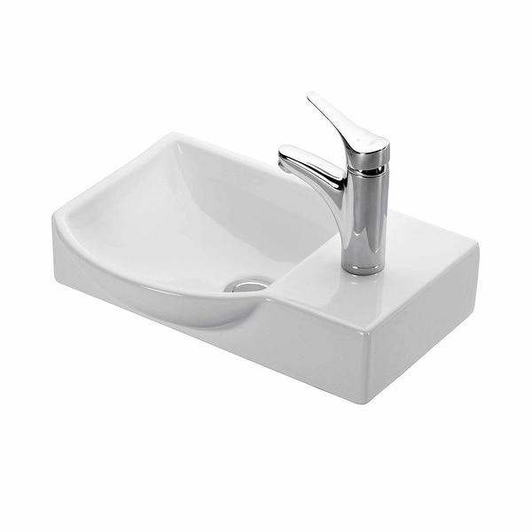 """WS Bath Collections Minimal 4079 Minimal 17-7/10"""" Wall Mounted/Vessel - White. Opens flyout."""