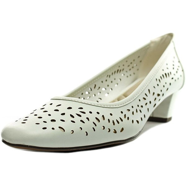 Easy Street Crystal Women N/S Round Toe Leather White Heels