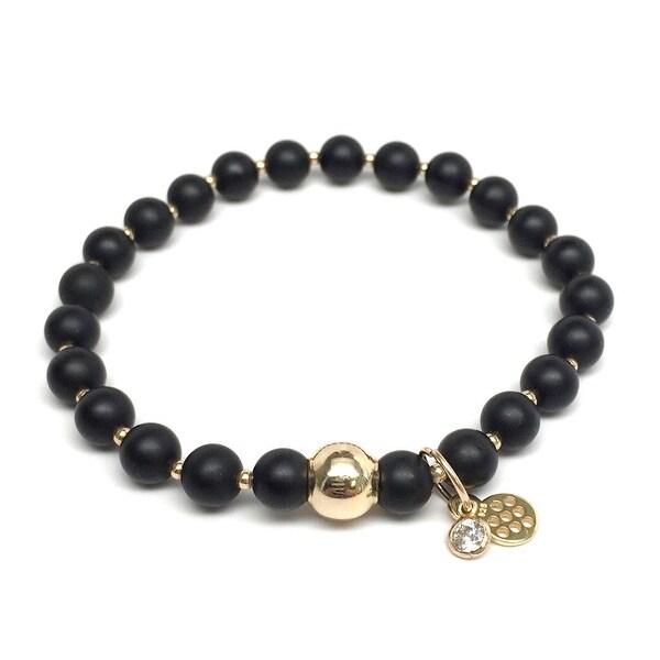 "Black Matte Onyx Lily 7"" Bracelet"