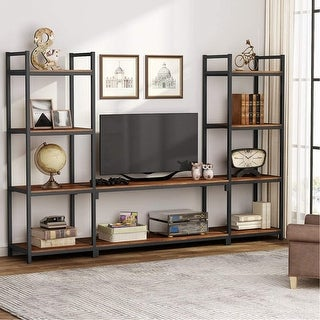 Large 3-Piece TV Stand Media Console with Bookcases - Dark walnut