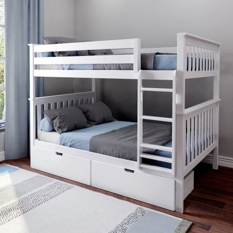 Max & Lily Full over Full Bunk Bed with Storage Drawers