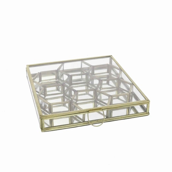 Modern Designed Honeycomb Box with Separate Compartments, Gold and Clear. Opens flyout.