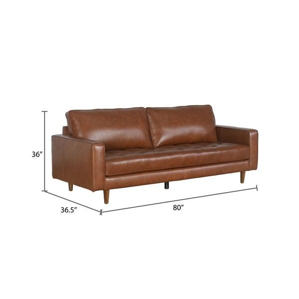 Abbyson Holloway Mid-century Top Grain Leather Sofa