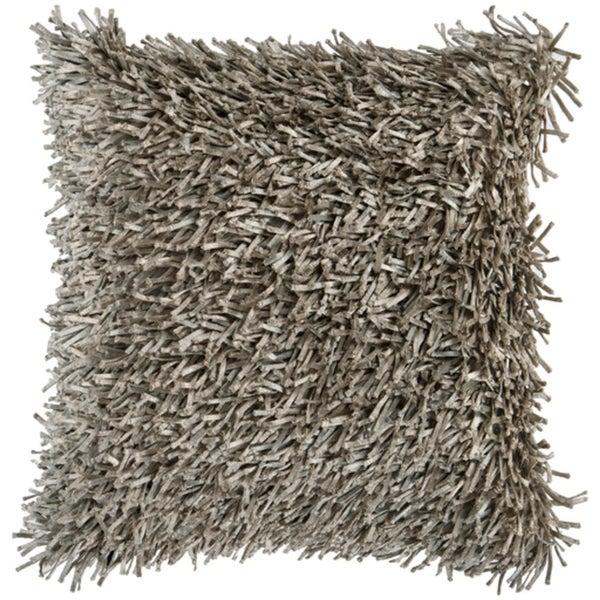 "22"" Cobblestone Gray Retro Shag Decorative Throw Pillow Cover"