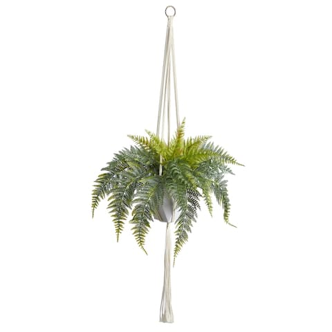 """25"""" Fern Hanging Artificial Plant in Decorative Basket"""