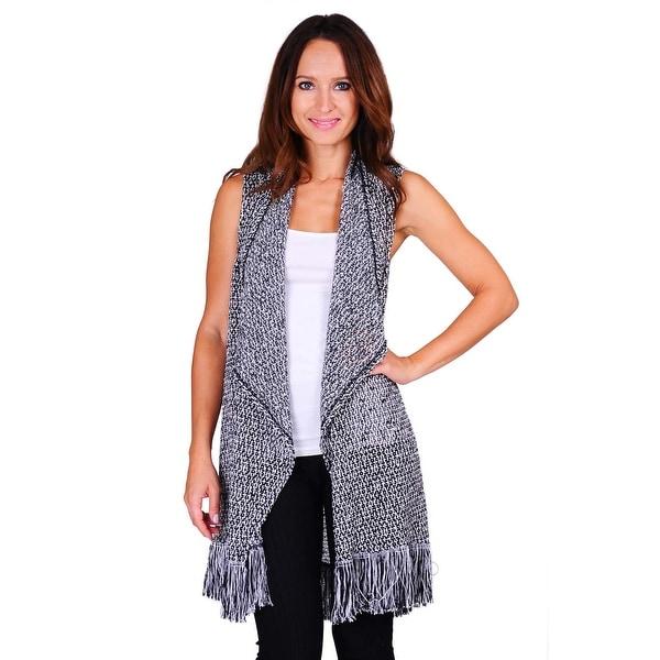 Simply Ravishing Women's Sleeveless Texture Knit Open Cardigan - Black/White. Opens flyout.