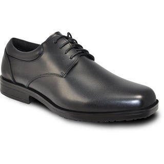 VANGELO Men Slip Resistant Dress Shoe NEWPORT Black Matte - Wide Width Available