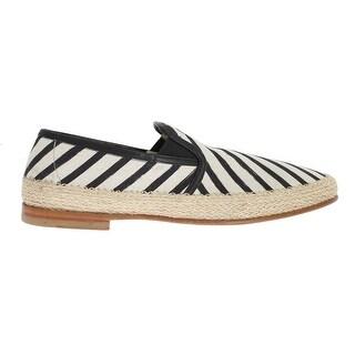 Dolce & Gabbana Black White Linen Loafers - eu44-us11