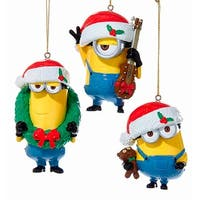Kurt Adler Despicable Me Minions Bearing Gifts  Holiday Ornaments Set of 3