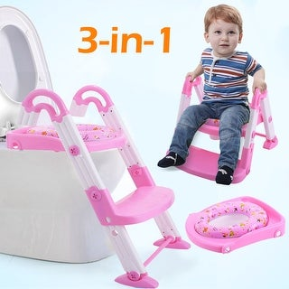 Costway 3 in 1 Baby Potty Training Toilet Chair Seat Step Ladder Trainer Toddler Pink