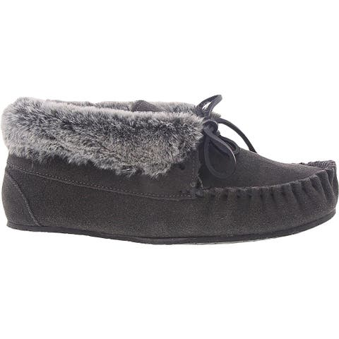 Minnetonka Womens Cabin Bootie Moccasin Boots Slip On Faux Fur Lined - Charcoal/Grey - 11 Medium (B,M)