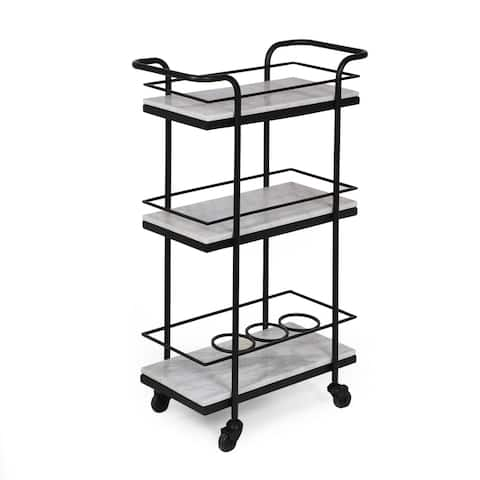 """Henri Modern Glam 3 Tier Bar Cart with Marble Shelving by Christopher Knight Home - 23.25"""" L x 12.00"""" W x 35.00"""" H"""