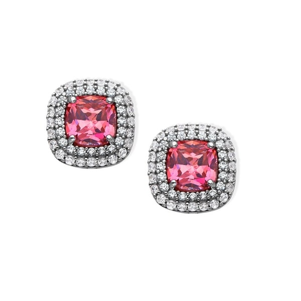 Stud Earrings with 4 ct Pink & White Swarovski elements Zirconia in Sterling Silver