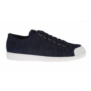 Dolce & Gabbana Mens Blue Denim Leather Casual Sneakers Shoes - 40
