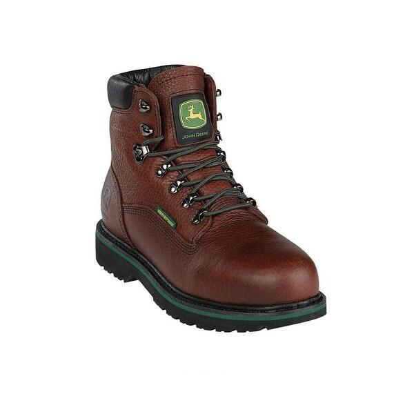 John Deere Work Boots Mens Steel Toe Waterproof Lacer Brown