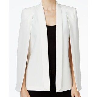 Tahari by ASL NEW White Ivory Women's Size 12 Open Front Cape Jacket