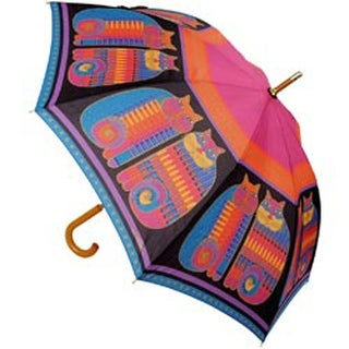 "Rainbow Cat Cousins - Laurel Burch Stick Umbrella 42"" Canopy Auto Open"
