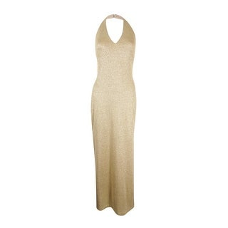 Lauren Ralph Lauren Women's Metallic Halter Gown - pierre cream/gold