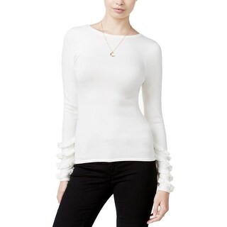 Guess Womens Nadia Pullover Sweater Ruffled Detail Long Sleeves Ivory L