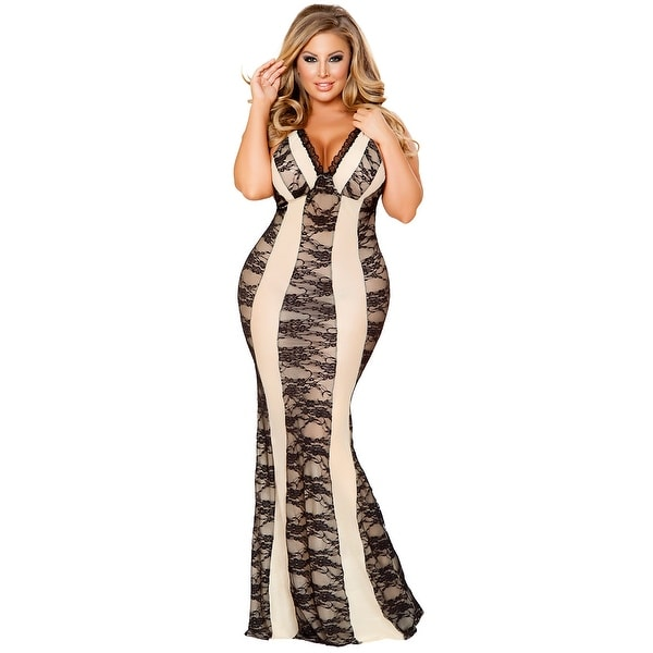 e028df8d7ba Shop Plus Size Nude And Black Lace Lingerie Gown