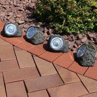 Sunnydaze Decorative Garden Rock Solar Light with White LED Light - Set of 4