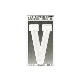 "Joy Applique Letter Iron On Varsity 3"" White V"