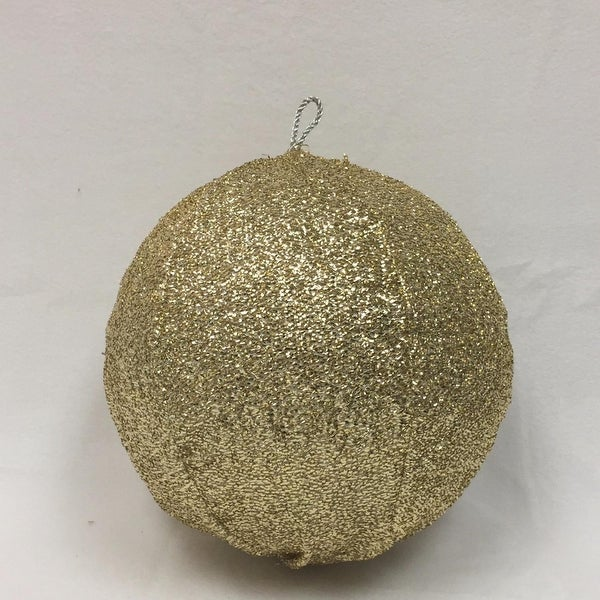 "15"" Sparkly Light Gold Inflatable Tinsel Ball Commercial Christmas Ornament"