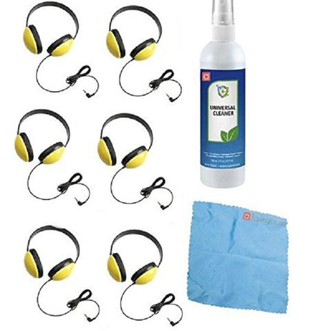 Califone 2800-YL Listening First Headphones (Set of 6) w/ Cleaning Kit