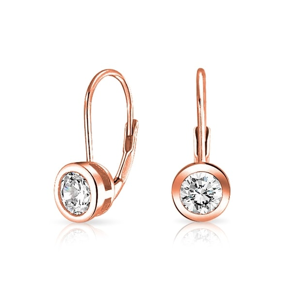 Bling Jewelry Rose Gold Plated Bezel Cz Leverback Earrings Sterling Silver