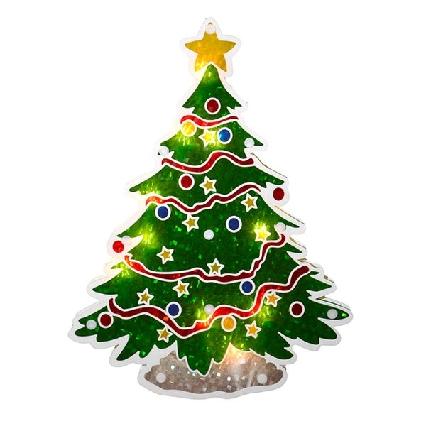 "12.5"" Glazed Lighted Holographic Christmas Tree Window Silhouette"