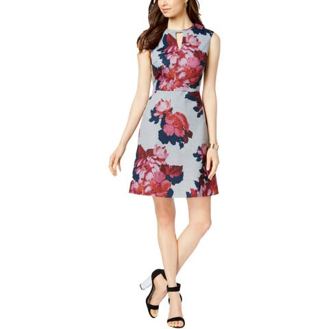 Tommy Hilfiger Womens Blustery Day Wear to Work Dress Floral Cut-Out