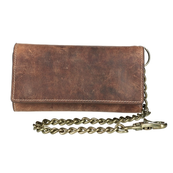 CTM® Men's Crazy Horse Leather RFID Long Trifold Chain Wallet - One size