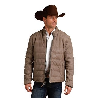 Stetson Western Jacket Mens Leather Quilt Taupe