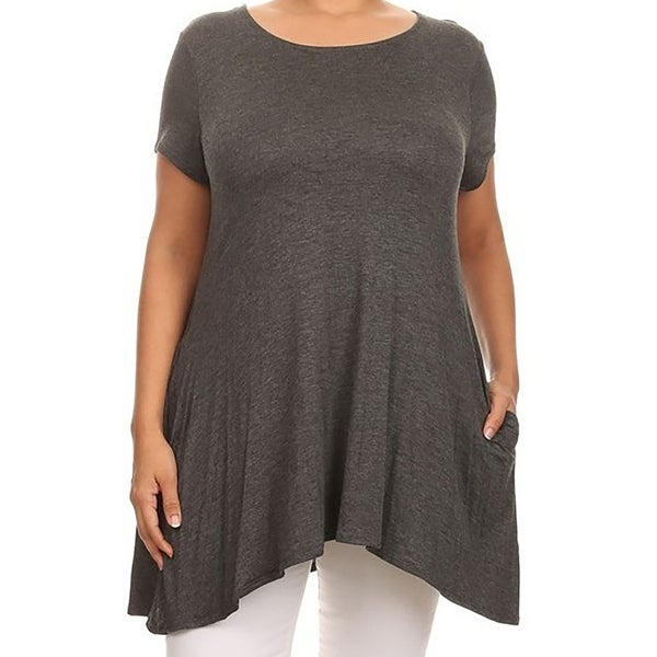 91c399c3fd5 Women - Plus Size Short Sleeve Solid Pocket Asymmetric Tunic Knit Top Tee  Shirt Charcoal. Click to Zoom