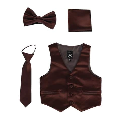 Lito Baby Boys Brown Satin Vest Zipper Tie Hanky Bowtie Clothing Set 18-24M - 18-24 Months