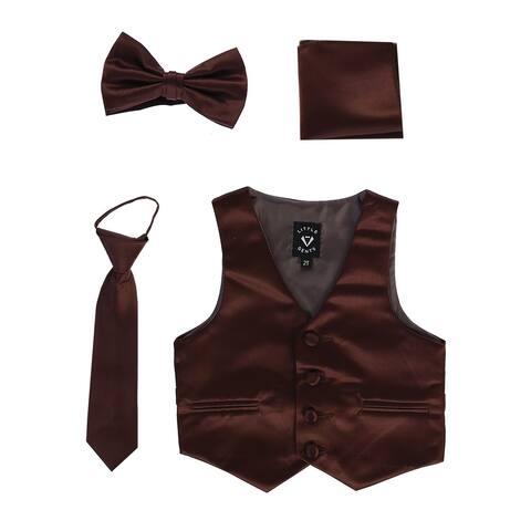 Lito Baby Boys Brown Satin Vest Zipper Tie Hanky Bowtie Clothing Set 6-12M - 6-12 Months