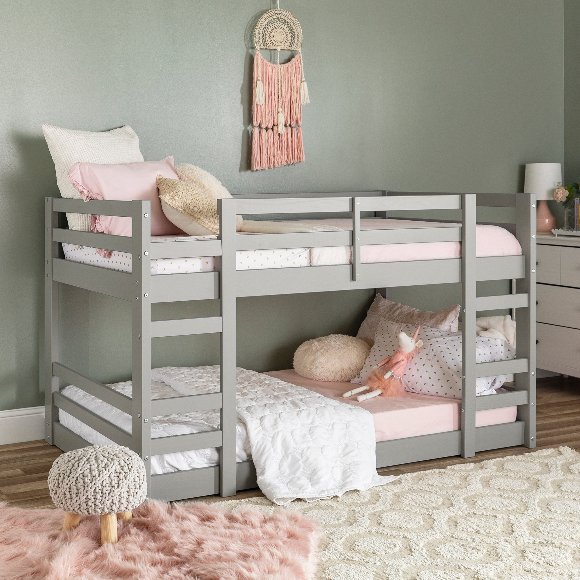 Picture of: Taylor Olive Browning Twin Solid Pine Low Bunk Bed Overstock 25483395