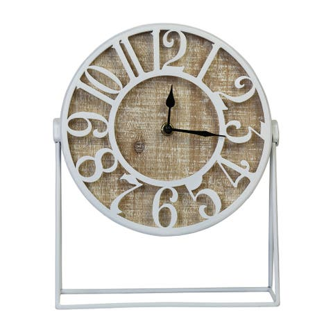Stratton Home Decor Dominick Wood and Metal White Table Clock - 9.00 X 3.25 X 11.00