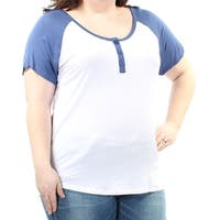 Womens White Blue Short Sleeve Scoop Neck T-Shirt Top  Size  3X