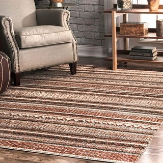 Link to Copper Grove Zoutleeuw Brown Tribal Striped Area Rug Similar Items in Rugs