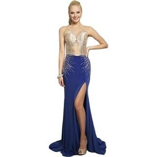 JVN by Jovani Womens Beaded Illusion Formal Dress