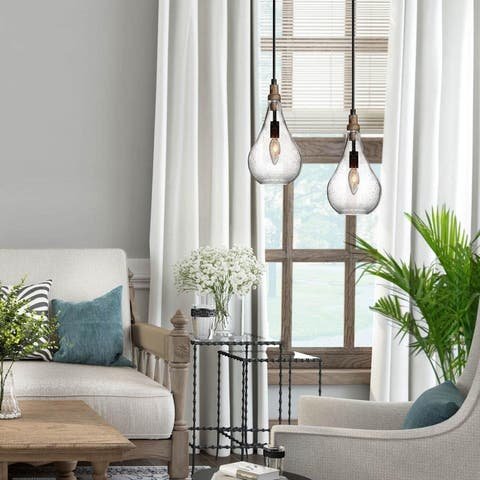 """The Gray Barn Mount Holly Modern 1-Light Glass Island Pendant Lights for Dining Room - W 5.9""""x H 11.8"""""""