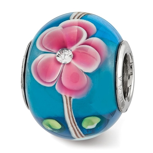 Sterling Silver Reflections CZ Blue & Pink Floral Blue Glass Bead (4.5mm Diameter Hole)