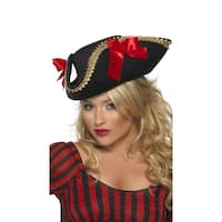 Gold Trimmed Pirate Hat, Hoty Pirate Hat - Black - One Size Fits most